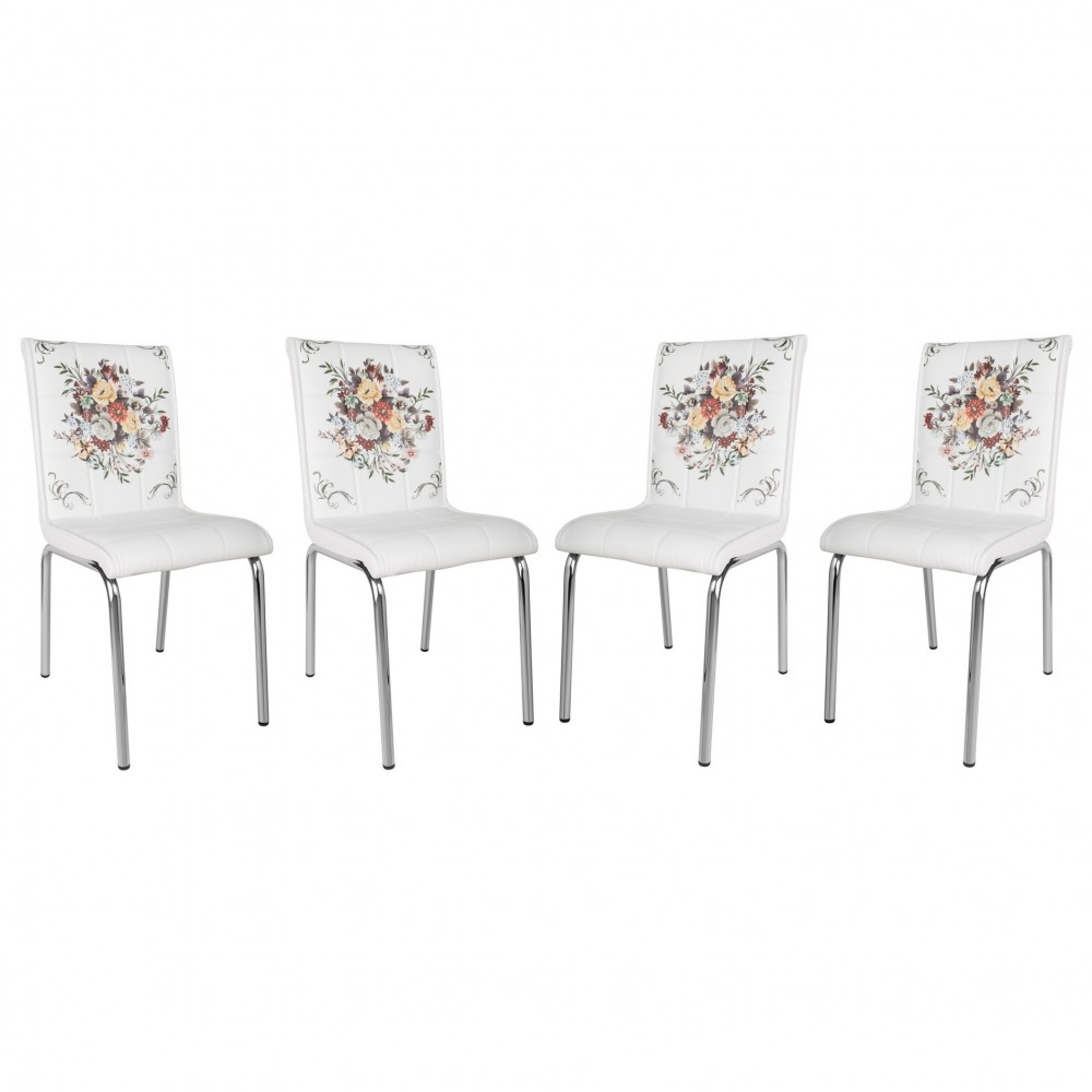 Set 4 scaune Pedli  cos cu flori