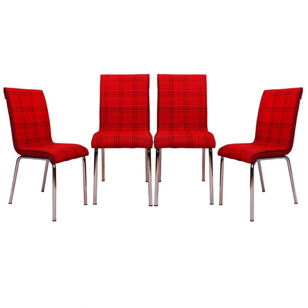 Set 4 scaune Pedli Ekose  rosu