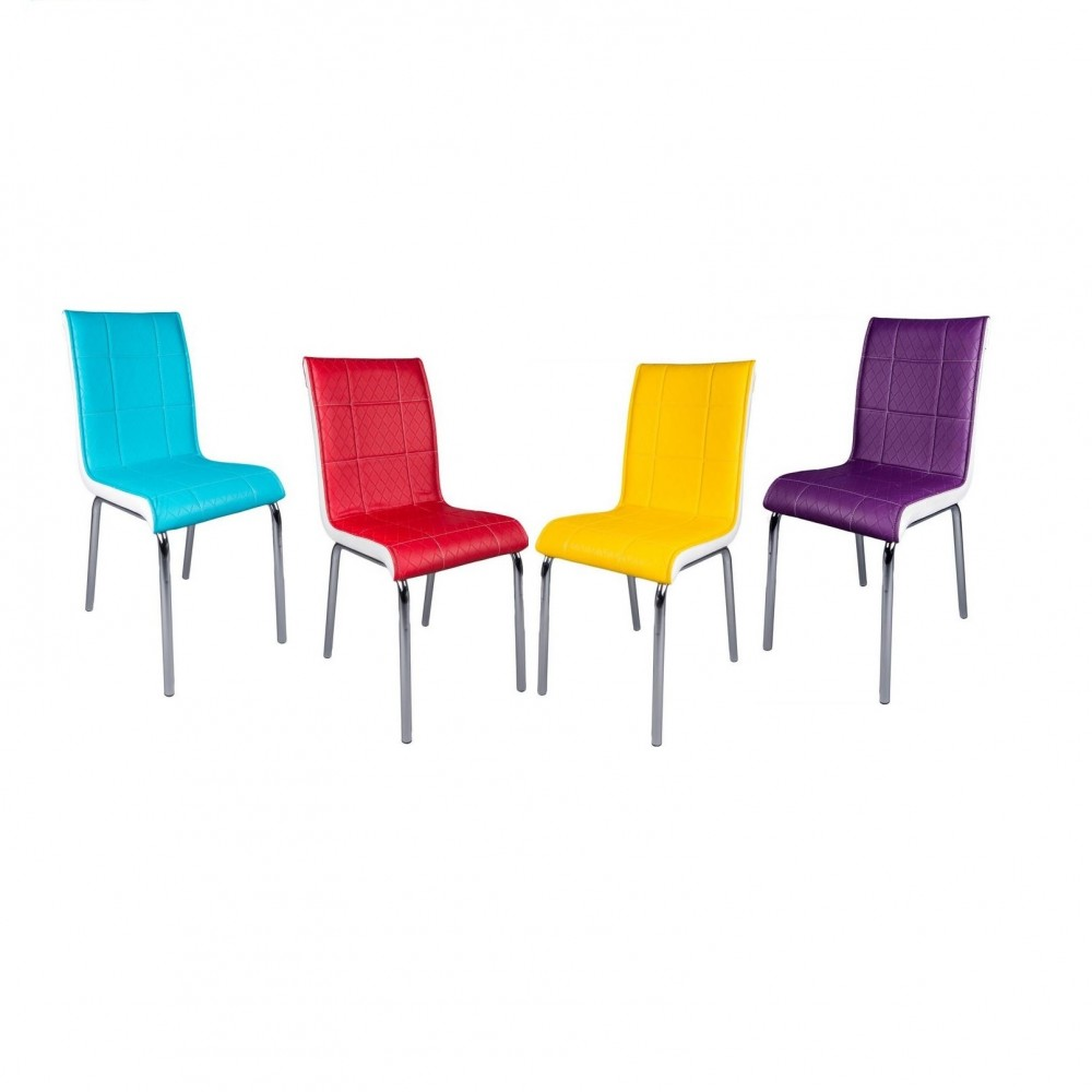Set masa extensibila alba cu 4 scaune Pedli piele multicolore