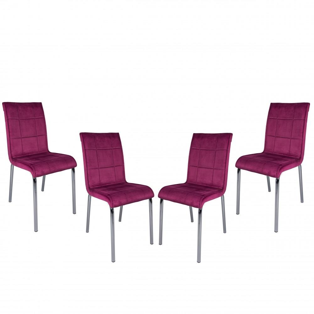 Set 4 scaune Pedli mov tapiterie textil