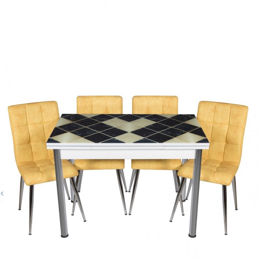 Set masa extensibila 110 x70 cm Siyah Sari Mermer cu 4 scaune Kare denim galbene