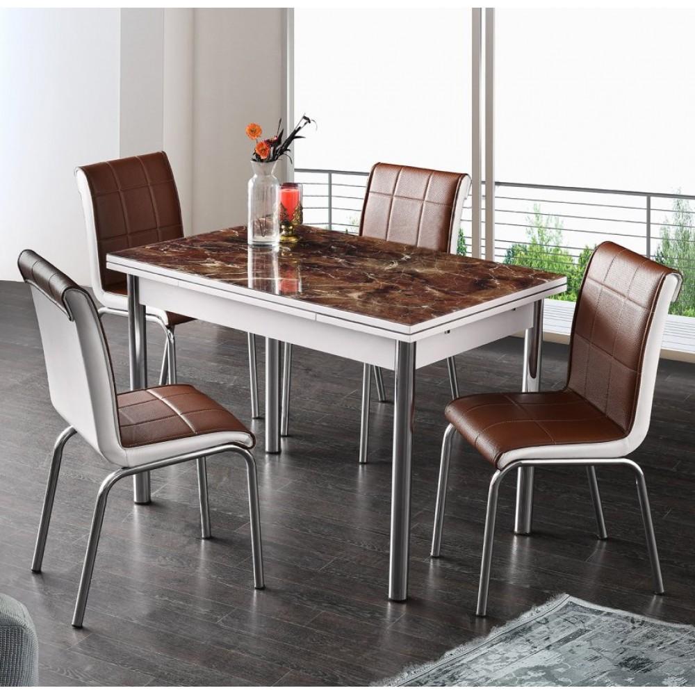 Set masa extensibila desen marmura maro110x70 cu 4 scaune maro