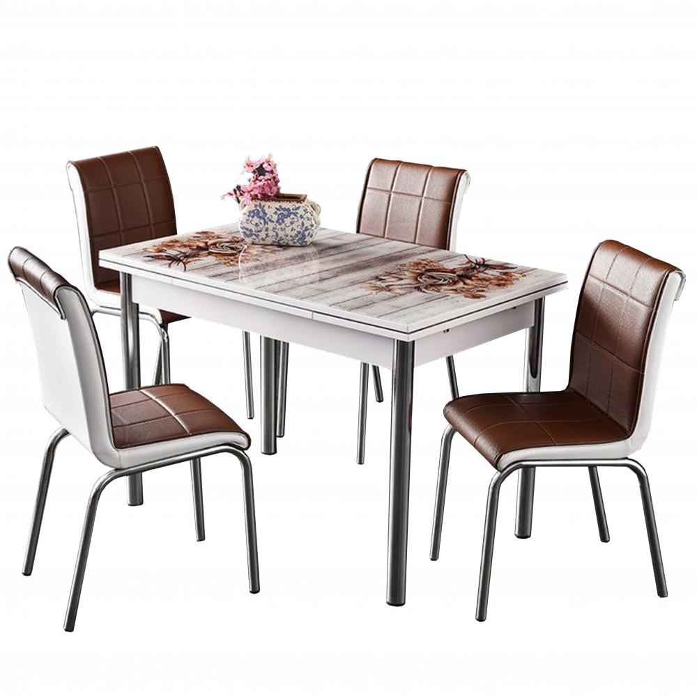 Set masa extensibila Acelya 110x70 cu 4 scaune pedli maro