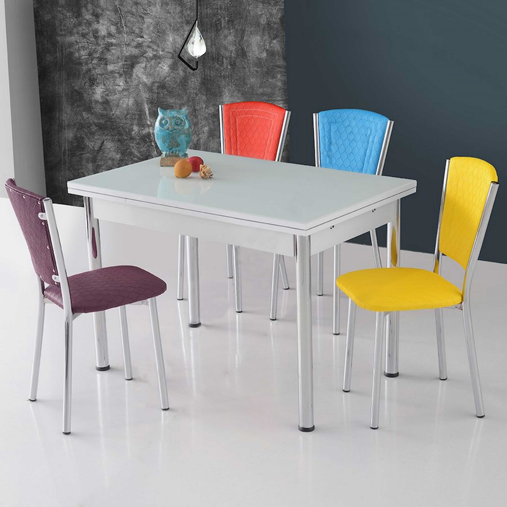 Set masa extensibila sticla alba cu 4 scaune efes karma multicolor