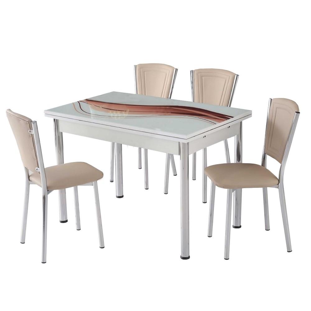Set masa extensibila sal maro cu 4 scaune efes crem