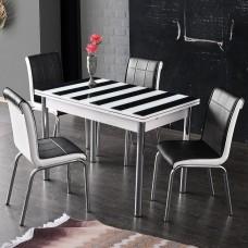 Set masa extensibila desen zebra 110x70 cu 4 scaune negre