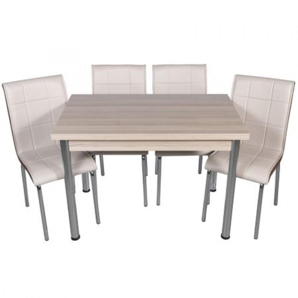 Set masa extensibila Cordoba cu 4 scaune pedli capucino