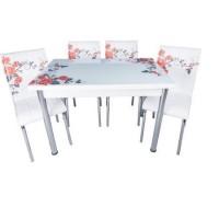 Set masa extensibila trandafiri rosii cu 4 scaune Pedli