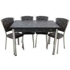 Set masa extensibila pal melaminat  110 x 70 Marmura neagra cu 4 scaune Efes Sarp gri