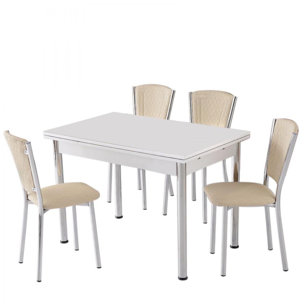 Set masa extensibila 110 x 70 alba cu 4 scaune Efes crem ekose