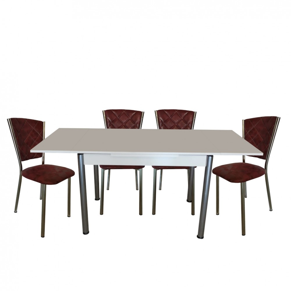 Set masa extensibila 110 x 70 alba cu 4 scaune Efes bordo