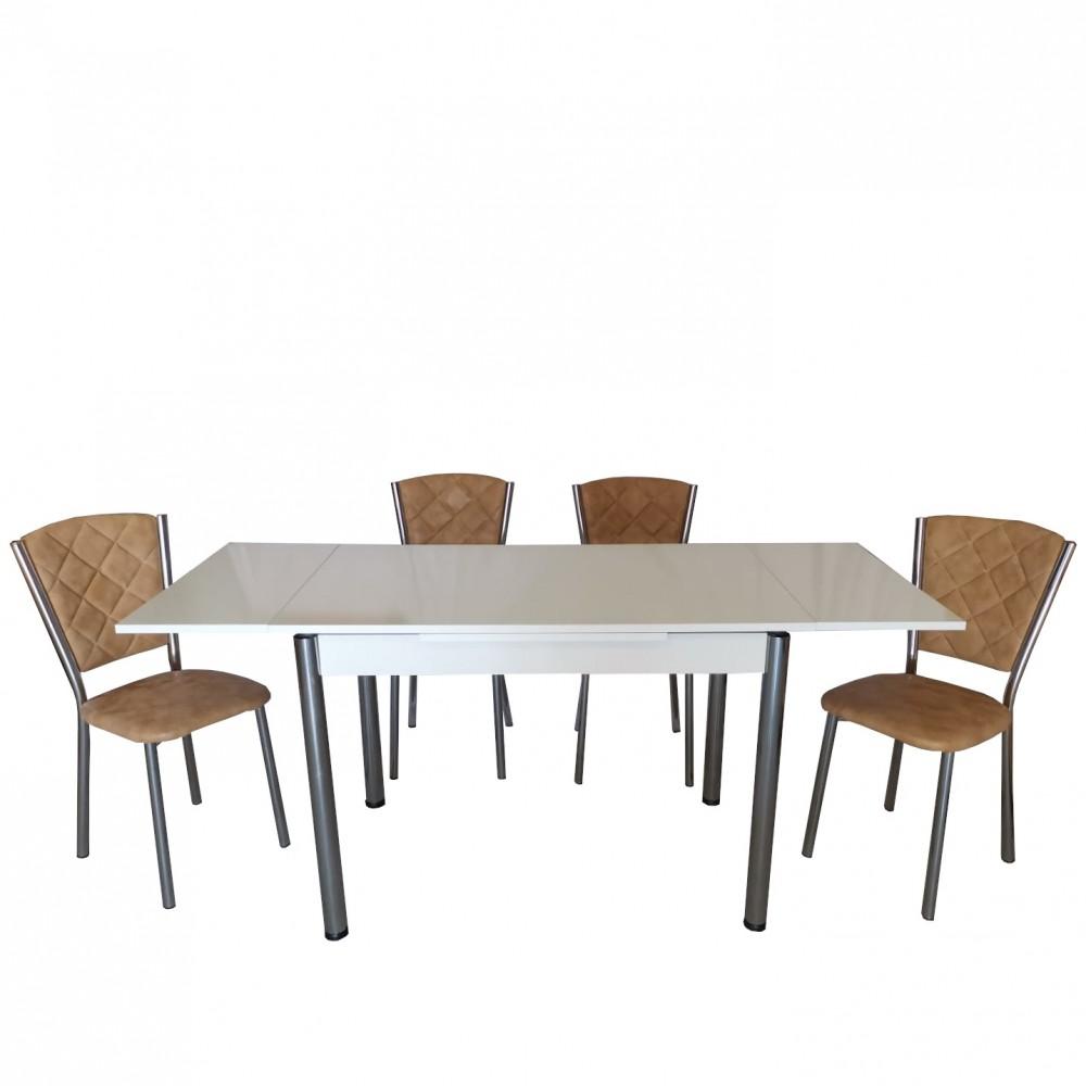 Set masa extensibila 110 x 70 alba cu 4 scaune Efes tabac