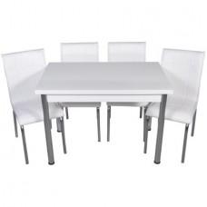 Set masa extensibila Alba cu 4 scaune Pedli piele ecologica