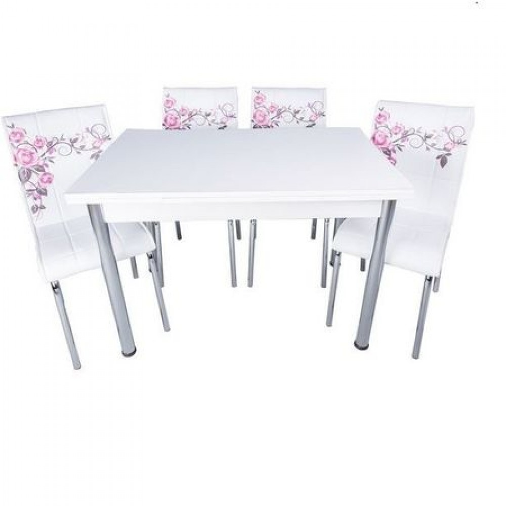 Set masa extensibila Alba cu 4 scaune Pedli trandafiri lila
