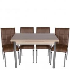 Set masa extensibila Cordoba cu 4 scaune pedli maro