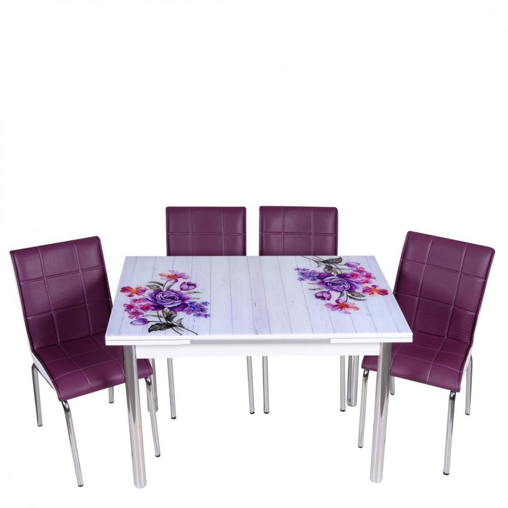 Set masa extensibila Buchet mov cu 4 scaune Pedli mov