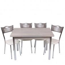 Set masa extensibila Mini Cordoba 90x60, cu 4 scaune eco Cordoba