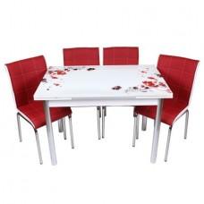 Set masa extensibila Flori rosii cu 4 scaune Pedli rosii