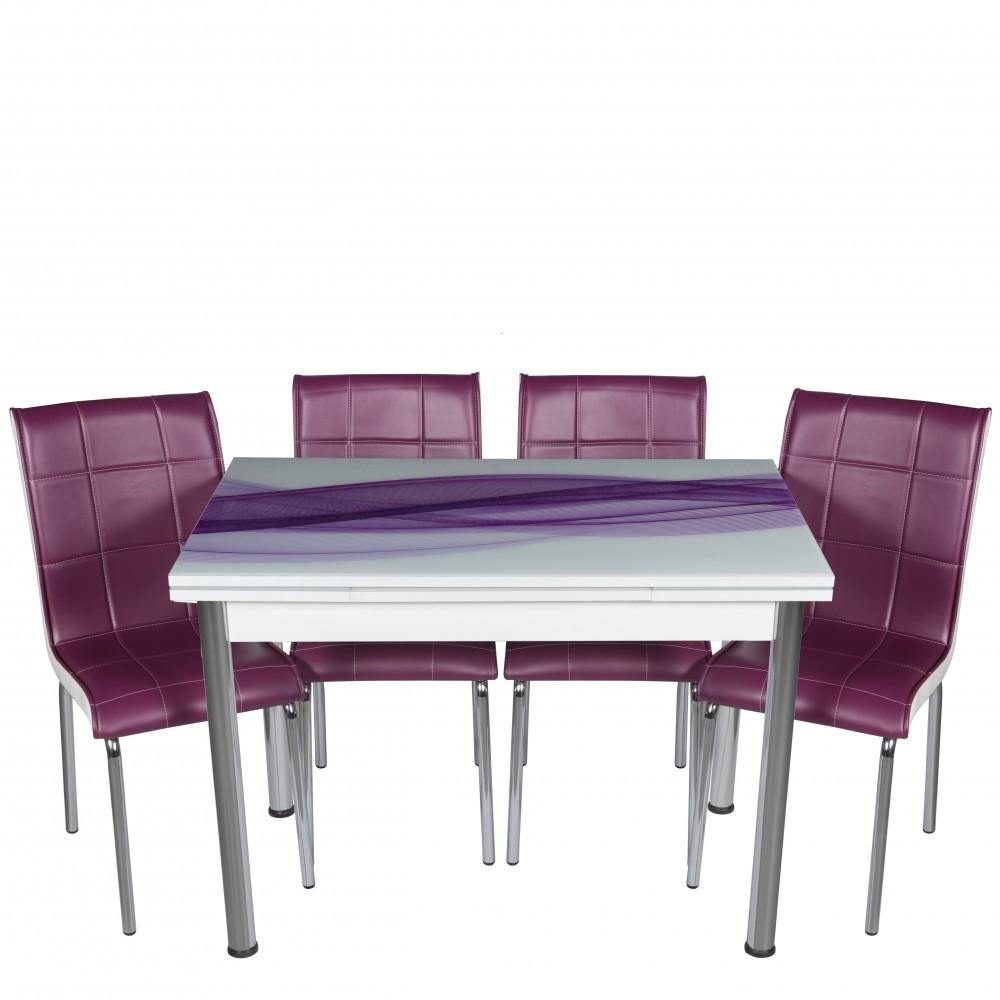 Set masa extensibila 110x70 Mor Waves cu 4 scaune Pedli mov