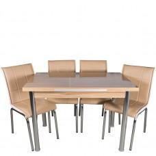 Set masa extensibila samba 110x70 cu 4 scaune Pedli MK bej