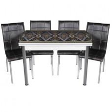 Set masa extensibila 110x70 Siyah Geometric cu 4 scaune pedli Negre