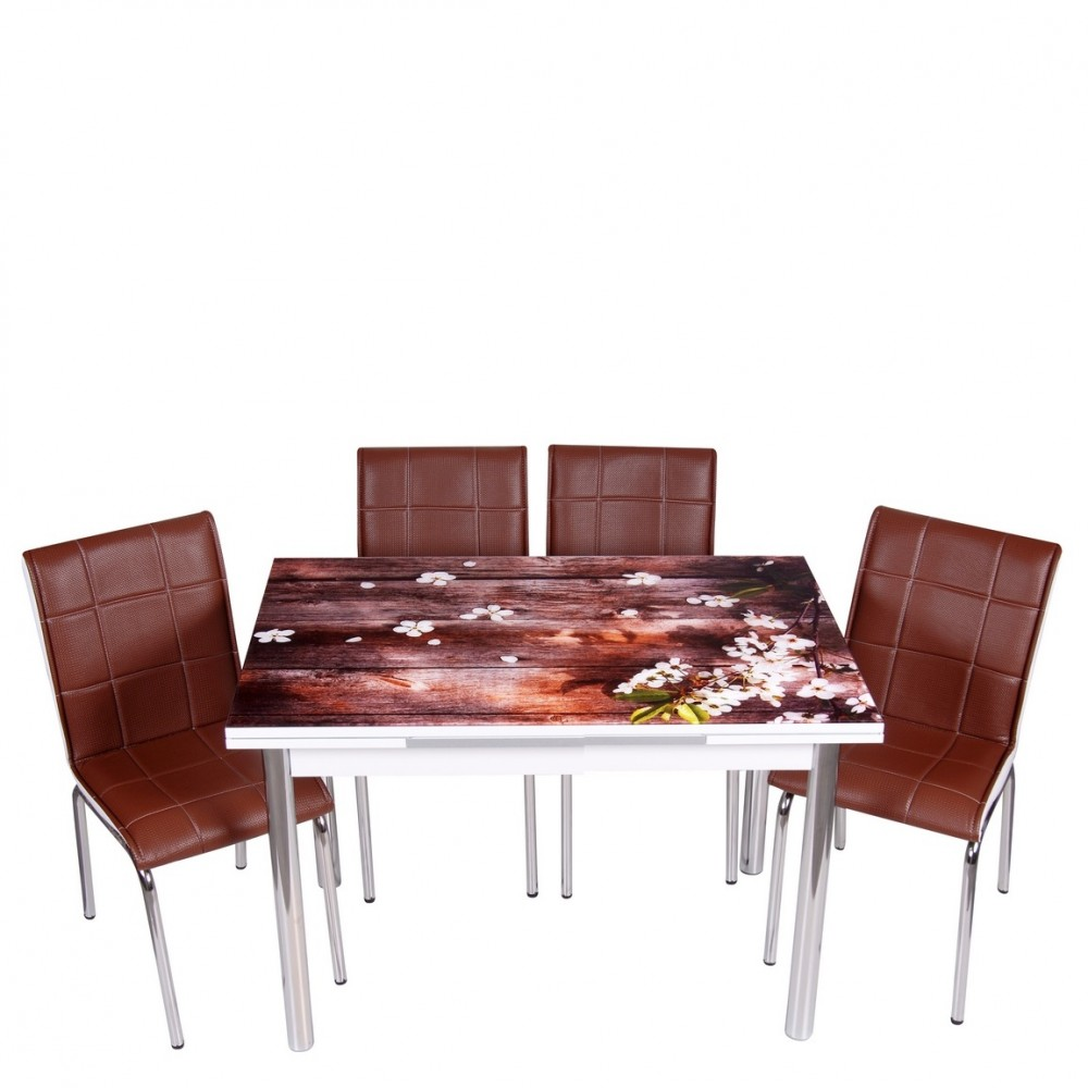 Set masa extensibila cu 4 scaune Flori cires