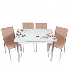 Set masa extensibila Flori maro cu 4 scaune MK bej