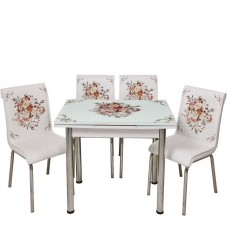 Set masa extensibila 90x60 cu 4 scaune Buchet de flori