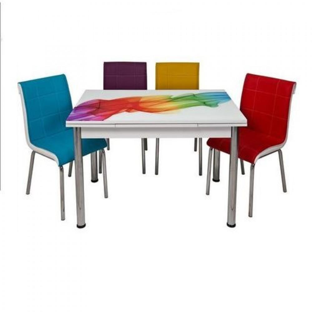 Set masa extensibila Sal Desen 110x70 cu 4 scaune pedli karma piele