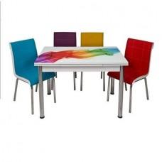 Set masa extensibila mini Sal Desen cu 4 scaune multicolore piele ecologica