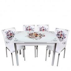 Set masa extensibila cu 4 scaune Buchet de flori