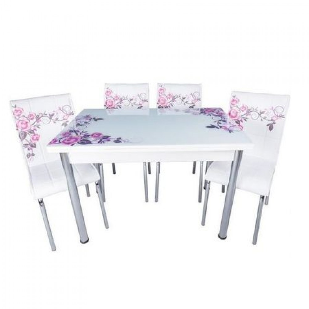 Set masa extensibila Trandafiri lila cu 4 scaune Pedli