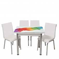 Set masa extensibila 90x 60 Sal Desen cu 4 scaune Pedli albe