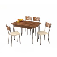 Set masa extensibila cu 4 scaune ceviz 110x70